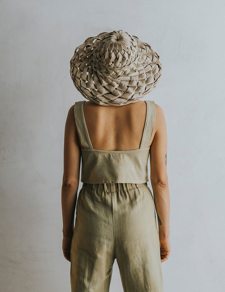 Bella Button Tank - Olive Green