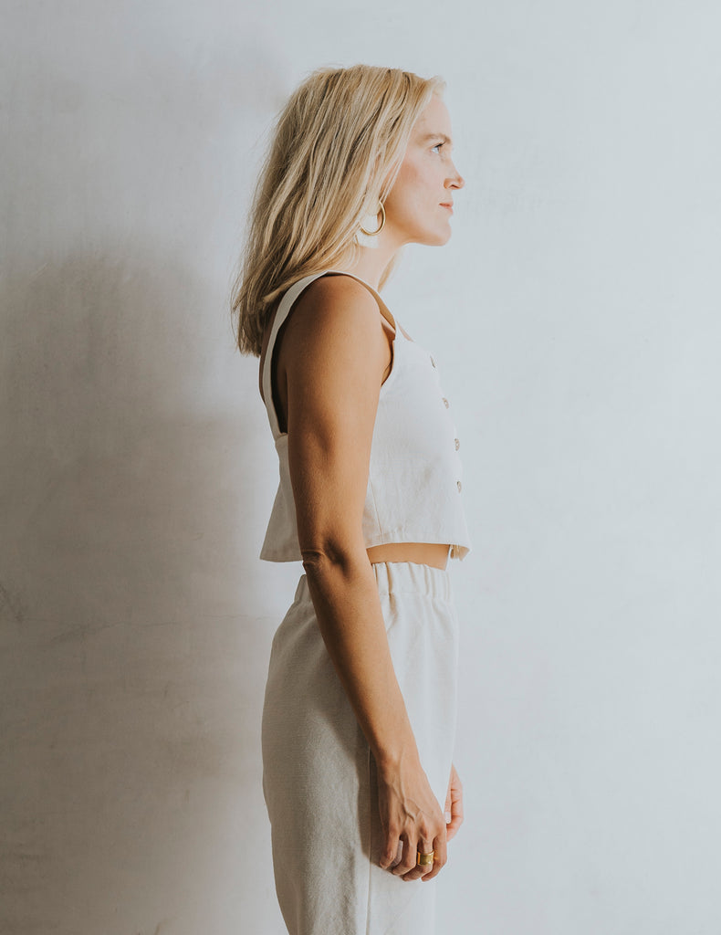 Bella Button Tank - Natural White