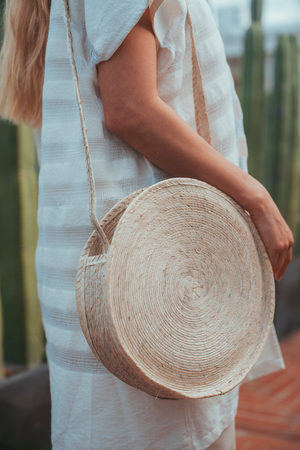 Circular Palm Crossbody Purse with Palm Strap - Large