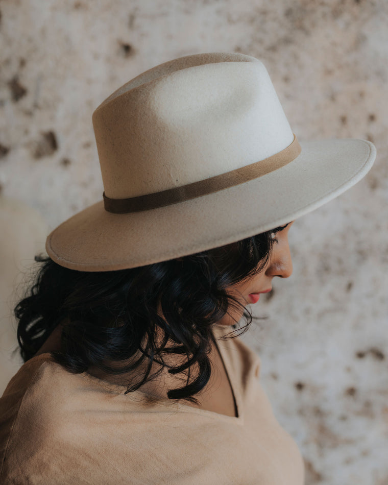 Felted Wool Fedora - White Sand