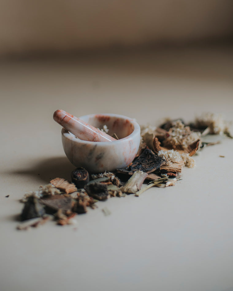 Mini Mortar + Pestle - Marbled Pink + White