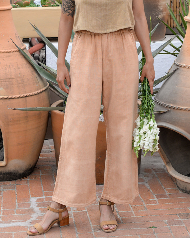 Wide Leg Crop Pants - Clay Rose