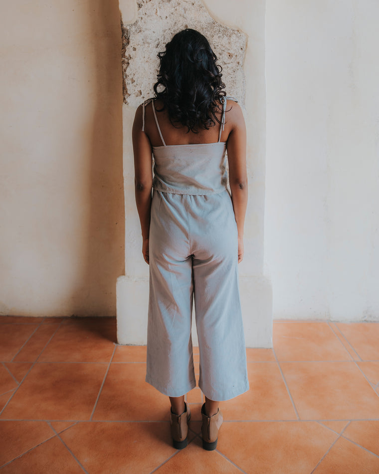 Wide Leg Crop Pants - Agave Blue
