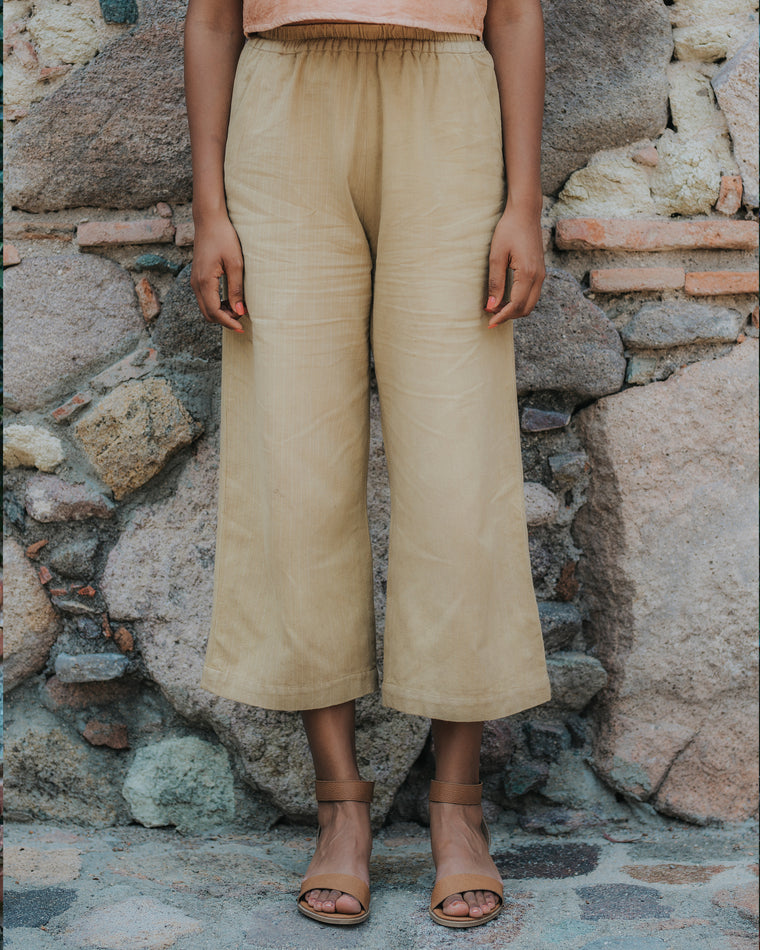 Wide Leg Crop Pants - Desert Sand