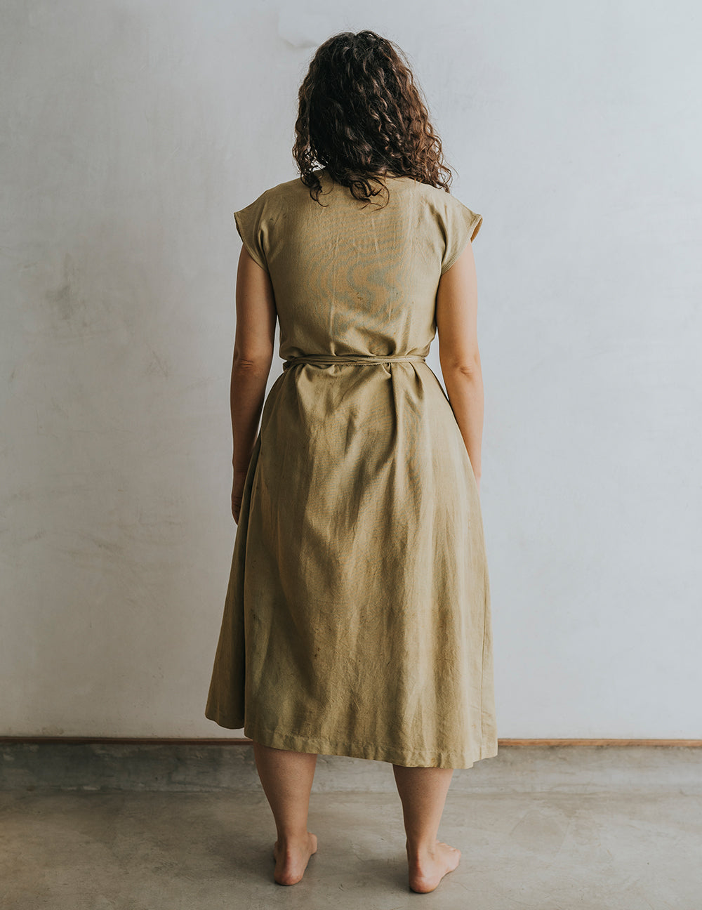 Hot Crossed Midi Dress - Olive Green