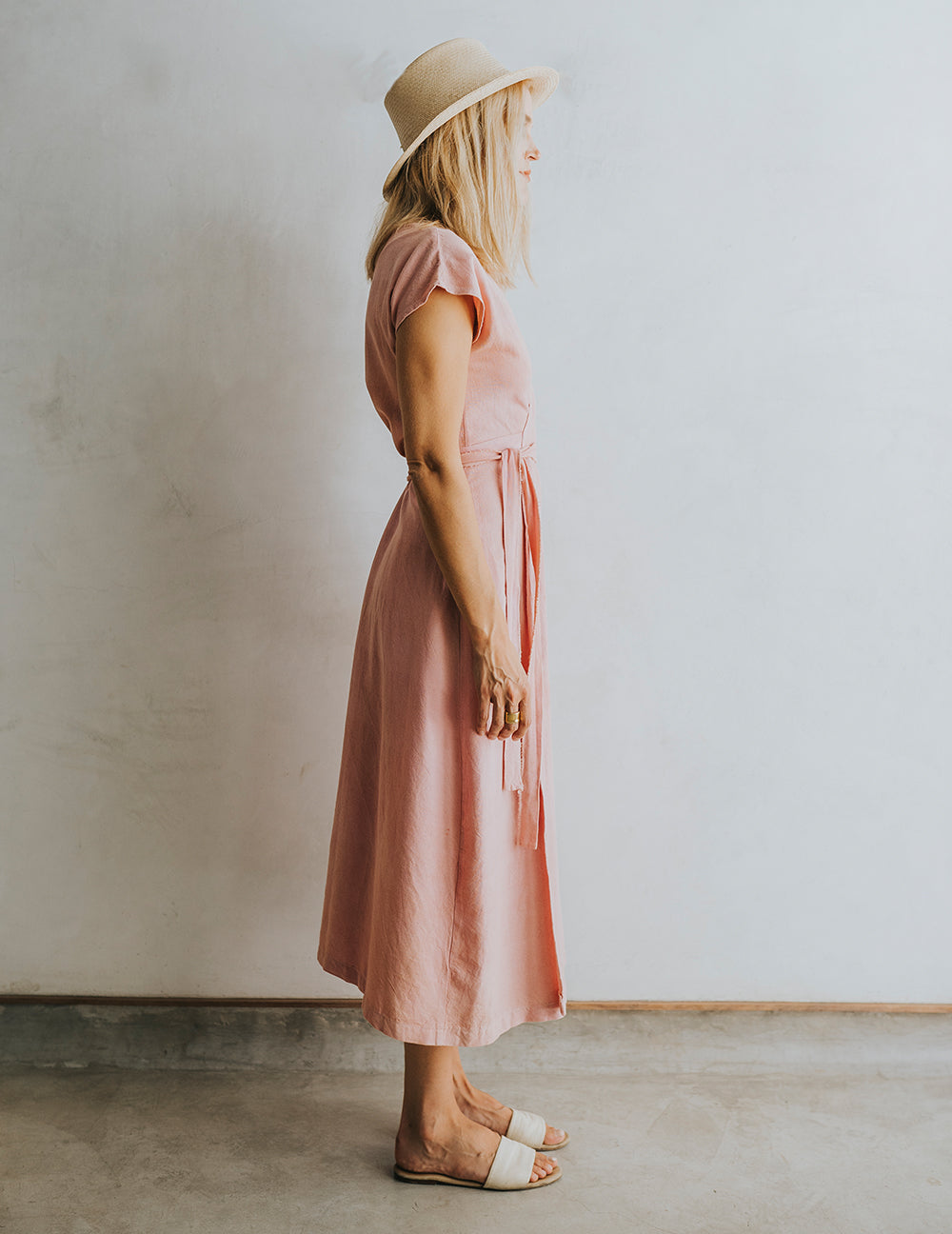 Hot Crossed Midi Dress - Petal Pink