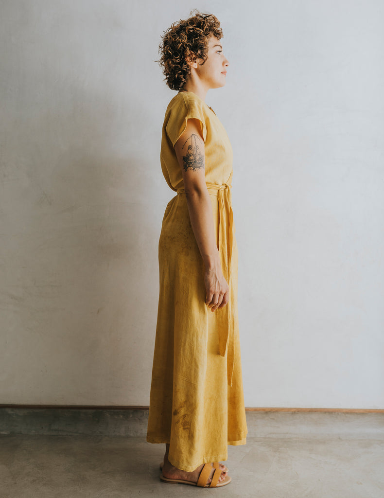 Hot Crossed Midi Dress - Saffron Yellow