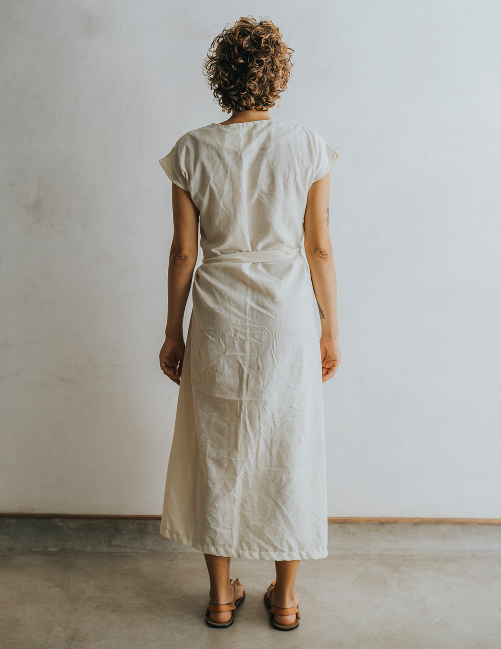 Hot Crossed Midi Dress - Natural White