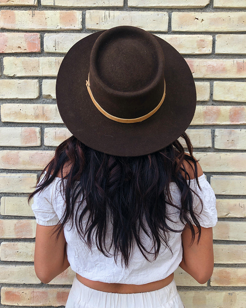 Luna Boater Hat - Coffee