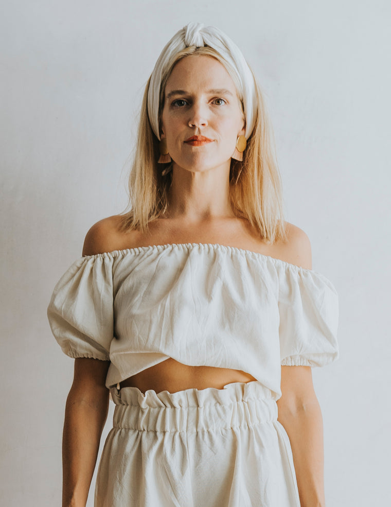 Perfect Crop Peasant Top - Natural White