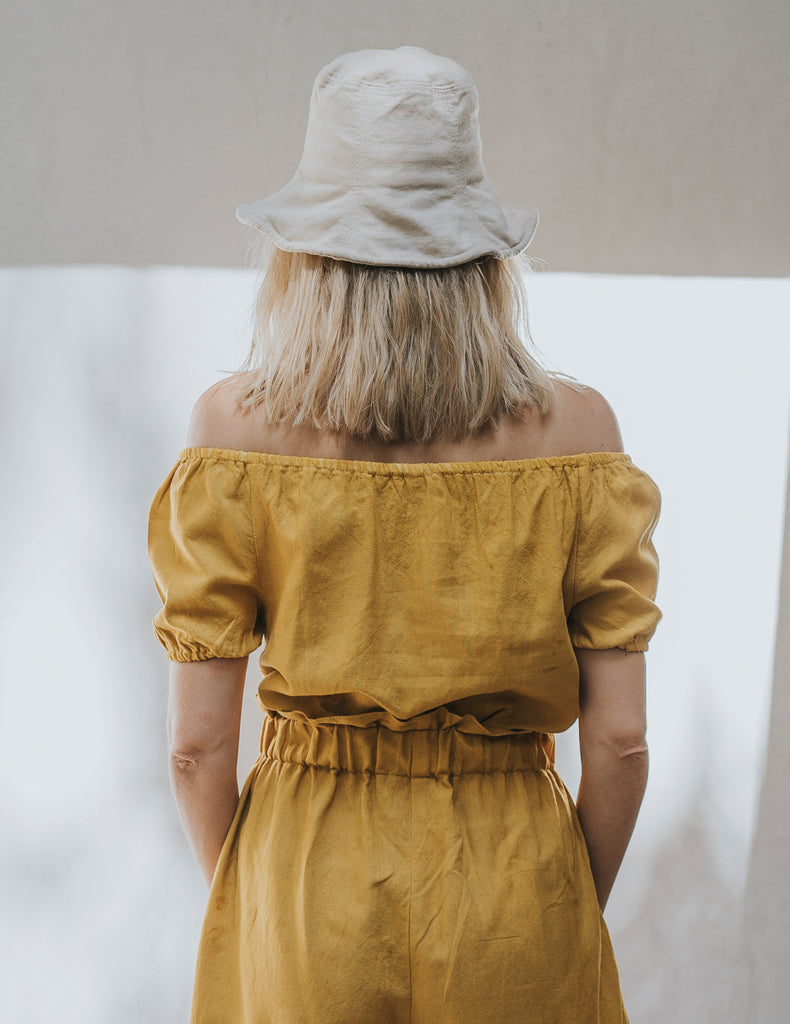 Perfect Crop Peasant Top - Saffron Yellow