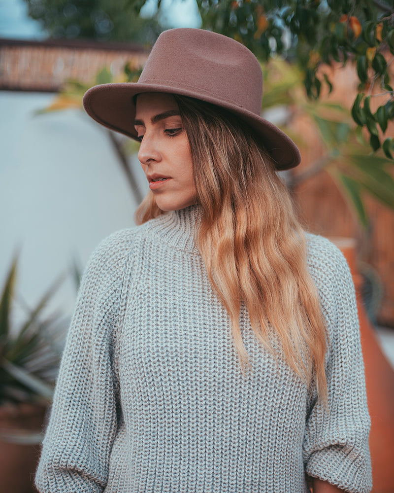 Felted Wool Fedora - Rosewood