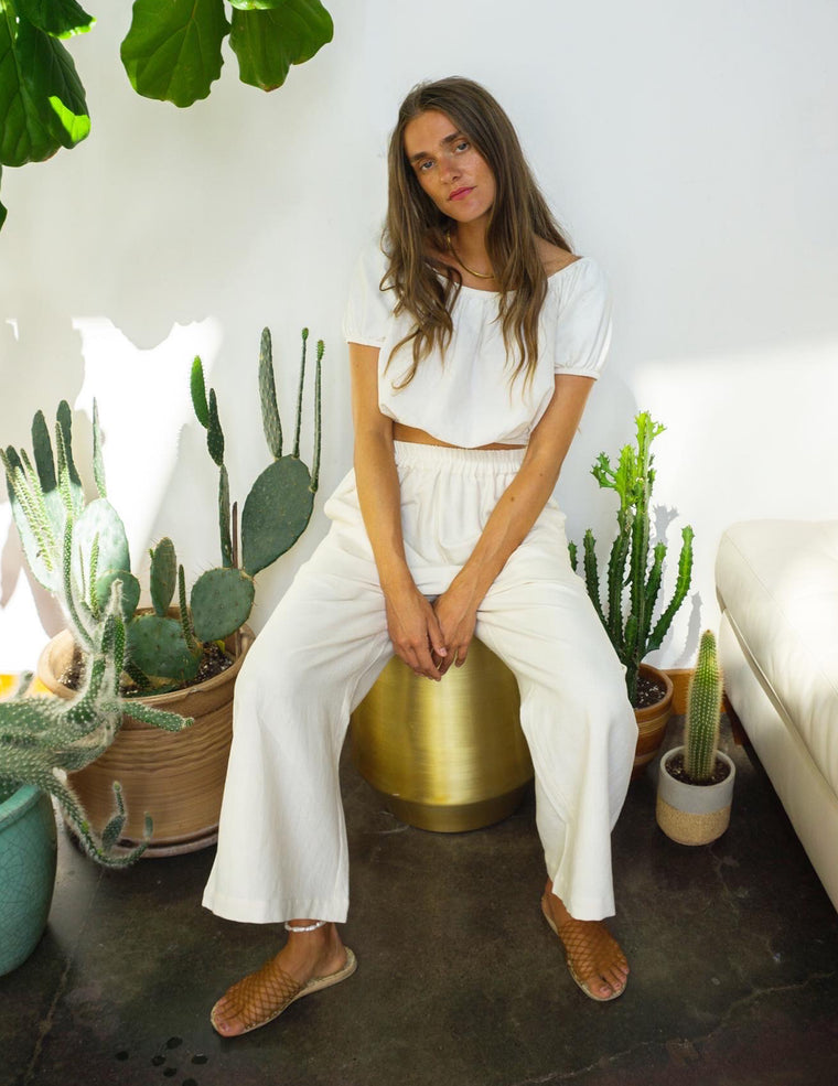 Wide Leg Crop Pants - Natural White