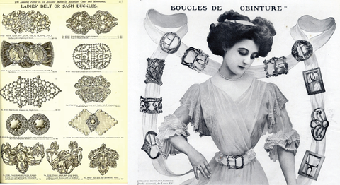 Victorian catalog featuring a variety of stamped brass buckles