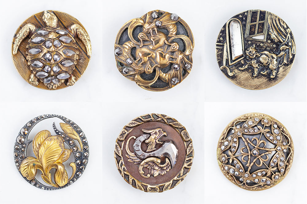 cut steel buttons from Grandmother's Buttons collection