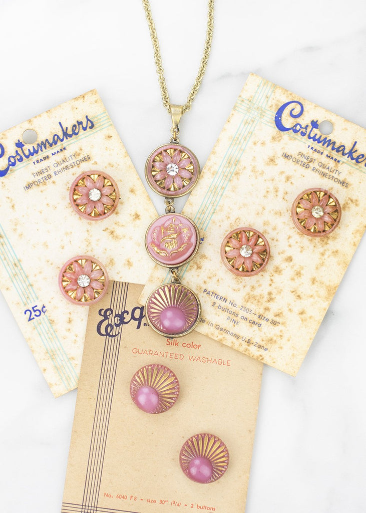 necklace-vintage glass buttons- grandmother's buttons