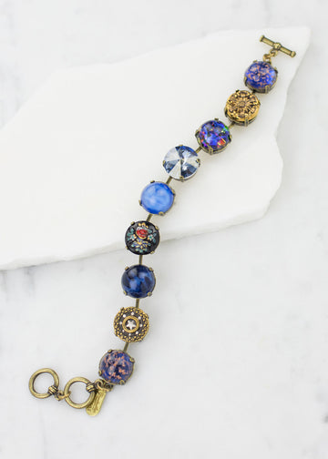 Bracelet - Vintage Glass & Antique Buttons - Handmade in USA