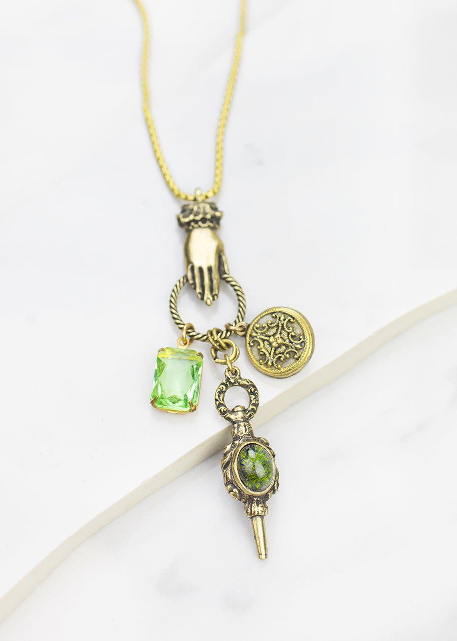 Necklace - Antique button, Vintage Czech Crystal & Watch Key