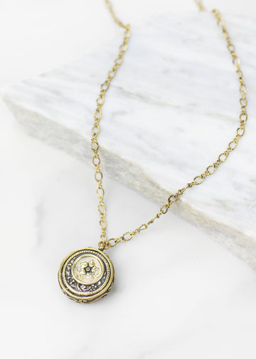 Janus Necklace in Brass