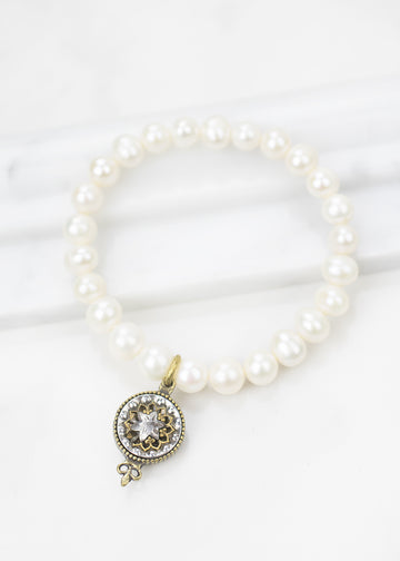 Bracelet-Freshwater Pearls and Antique Button - Handmade in USA