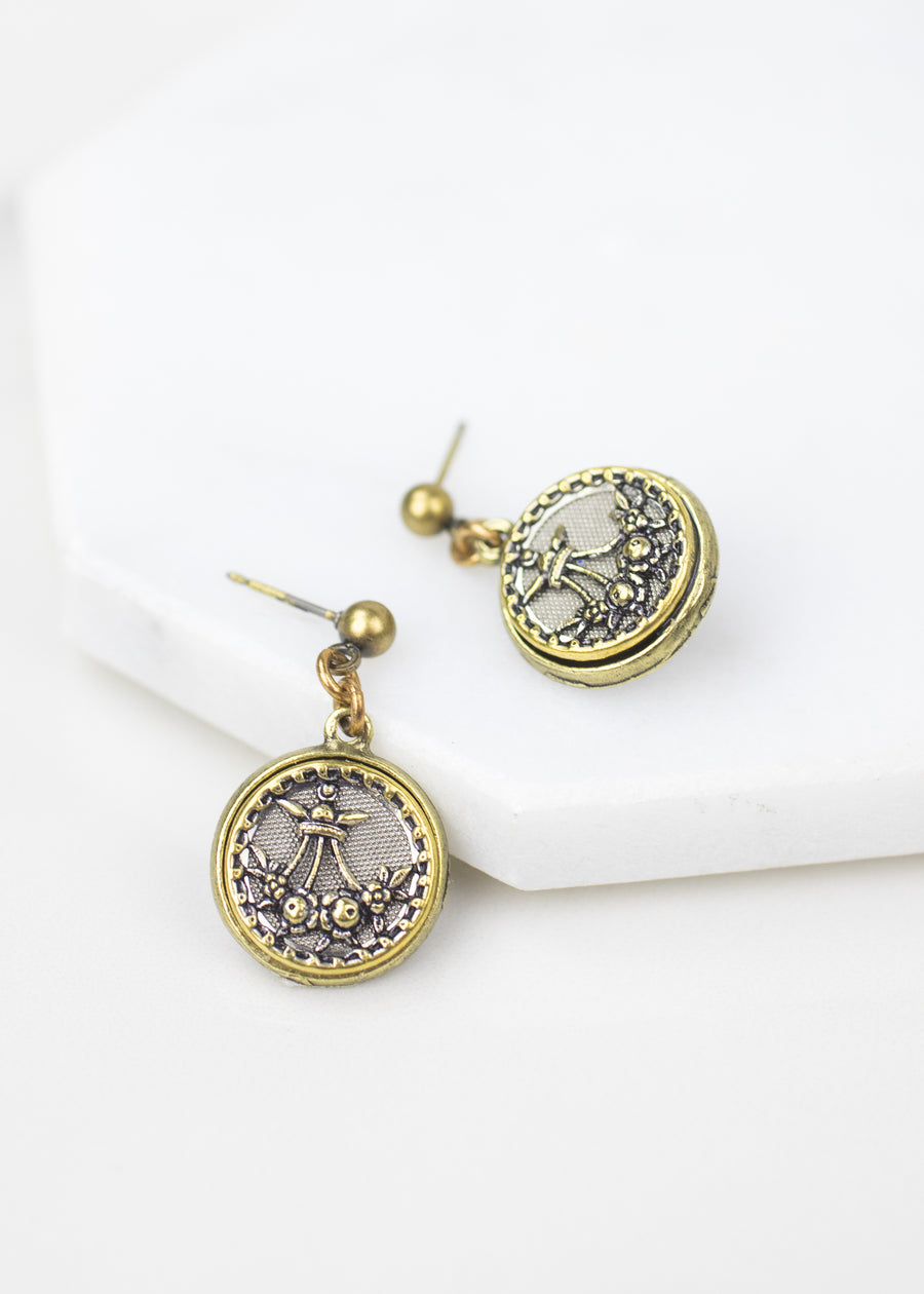 Antique Button Post Drop Earring