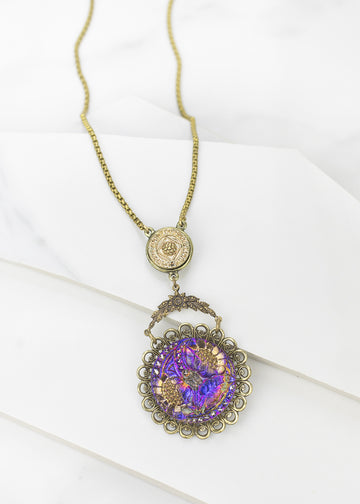 Adjustable Necklace - Handmade, Czech Glass & Antique Button