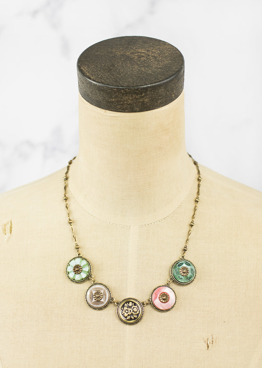 Necklace - Vintage Fresh Water Pearls & Antique Button - Handmade