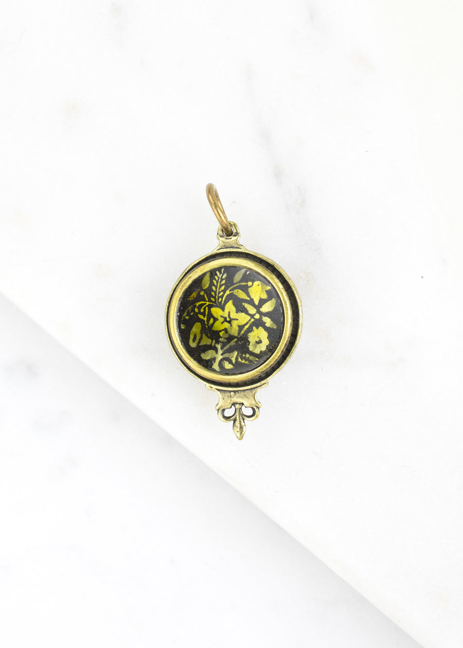 Antique Button Brass Charm