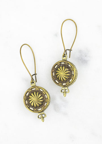 Antique Button Dangle Earrings