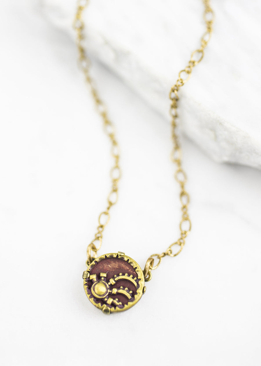 Handmade Necklace - Antique Button & Antiqued Brass Chain