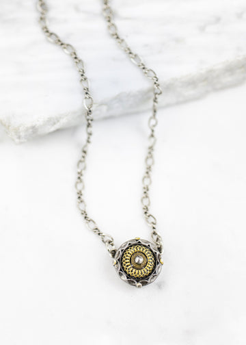 Handmade Necklace - Antique Button & Silver Plated Chain