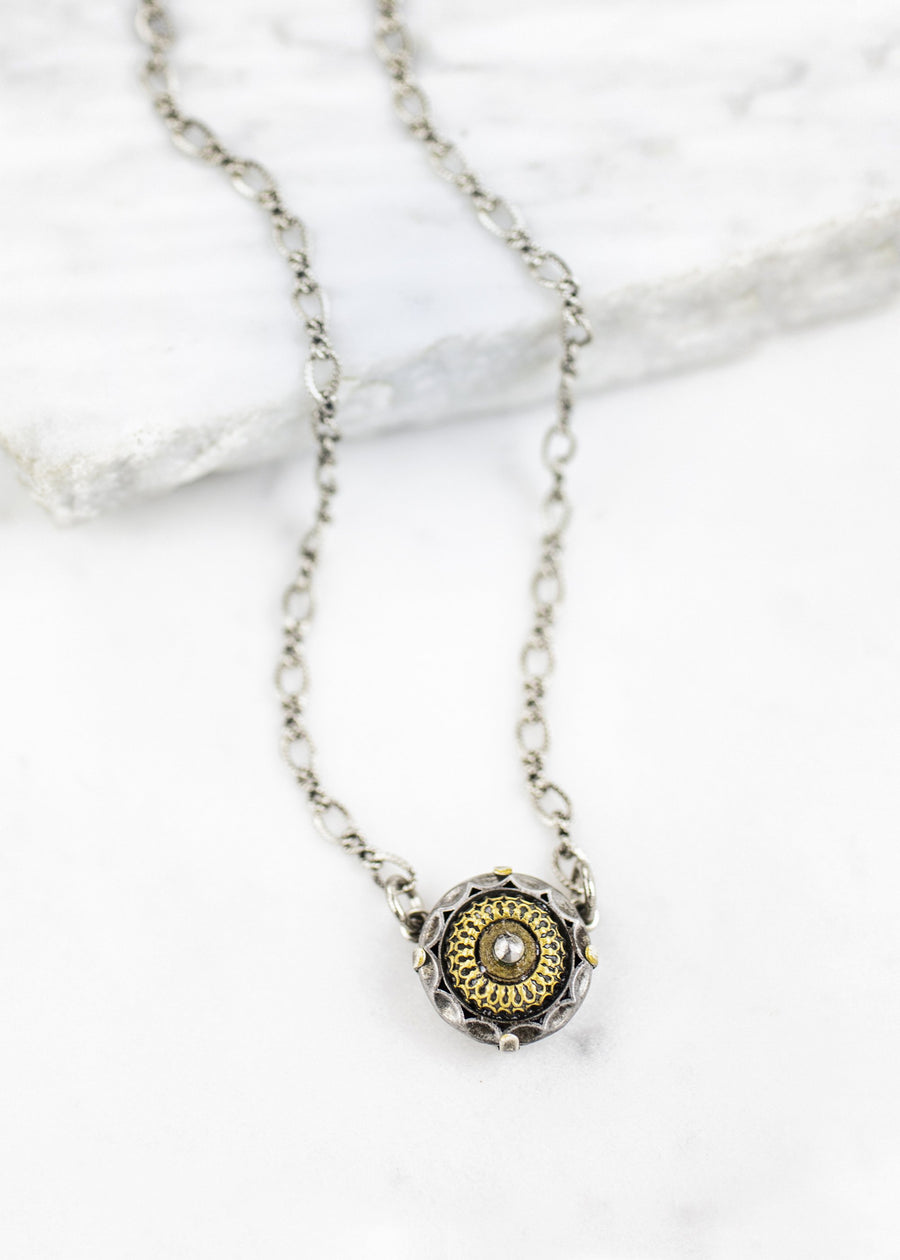 Antique Button Delicate Necklace