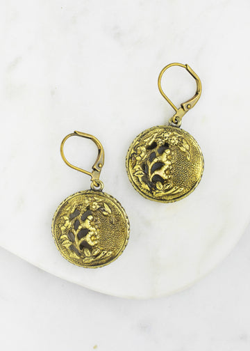 Antique Button Drop Earrings