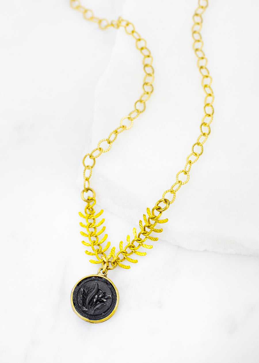 Necklace - Antique Jet Glass Button & Antiqued Brass Chain