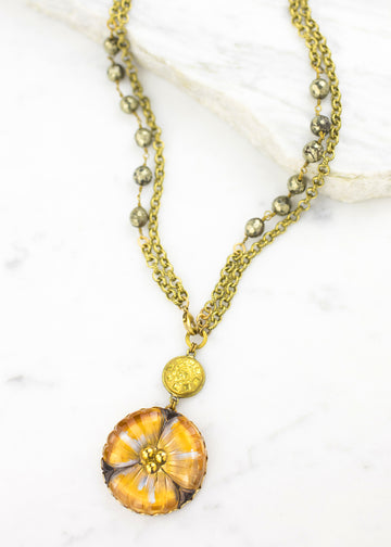 Necklace - Czech Hand Pressed Glass & Antique Metal Button