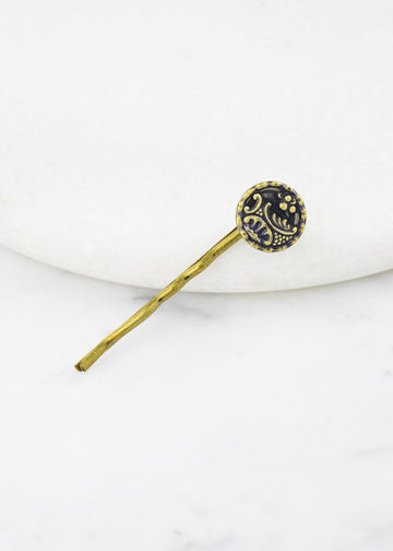 Antique Button Hairpin