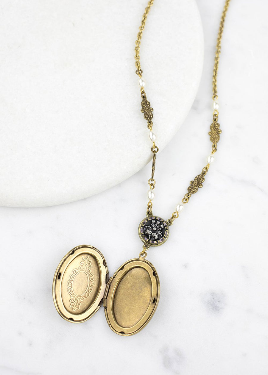 Locket Necklace - Antiqued Brass Button, Gold Locket & Antiqued Brass Chain - Handmade