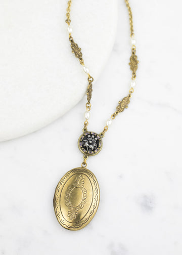 Handmade Pendant Necklace - Brass Locket & Antique Button