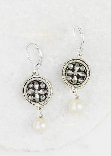 Earrings - Antique Silver Metal Buttons &  Pearl Drops