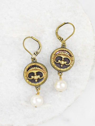 Antique Button Pearl Drop Earrings