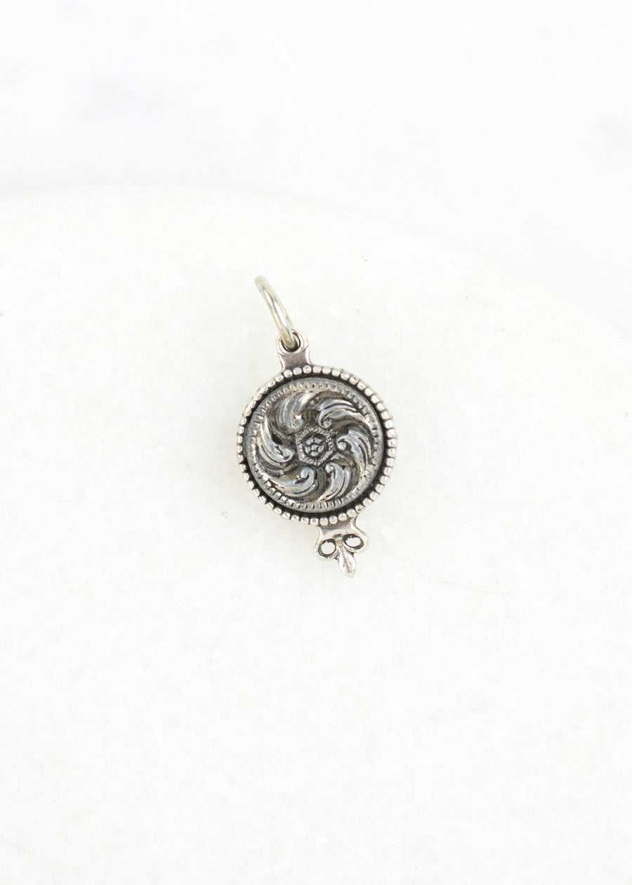 Antique Button Silver Charm