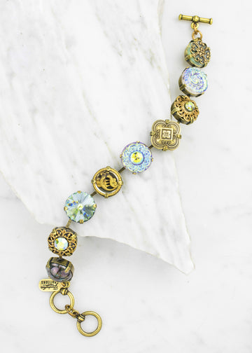 Bracelet - Antique Button and Crystal Bracelet - Handmade in USA
