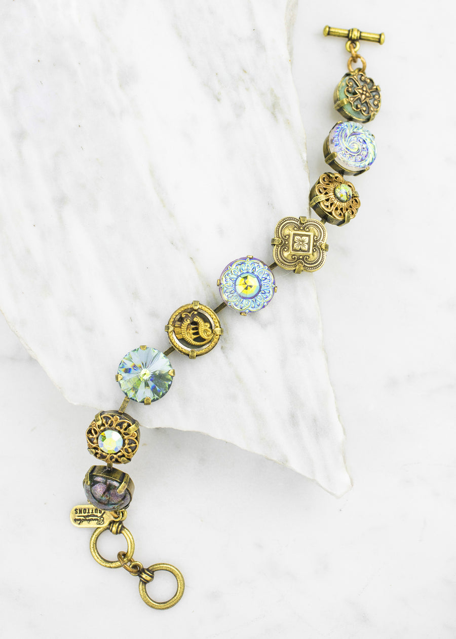 Antique Button and Crystal Bracelet