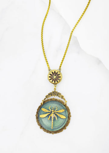 Dragonfly Necklace - Handmade, Antique Button & Czech Glass