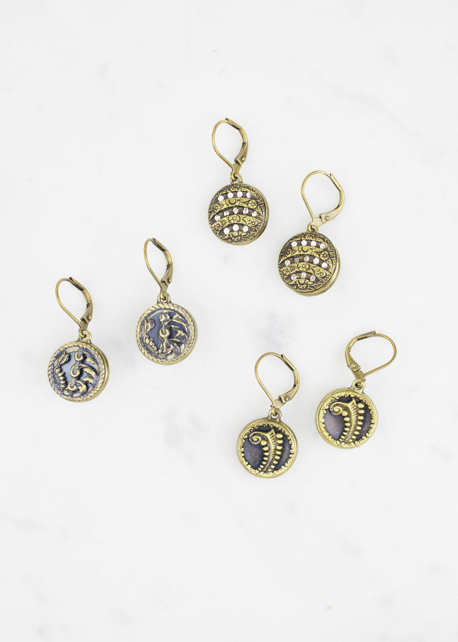 Brass Antique Button Drop Earrings