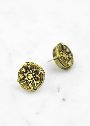 Brass Antique Button Post Earrings