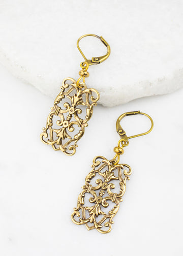Earrings - Brass Filigree Stampings, Made in USA
