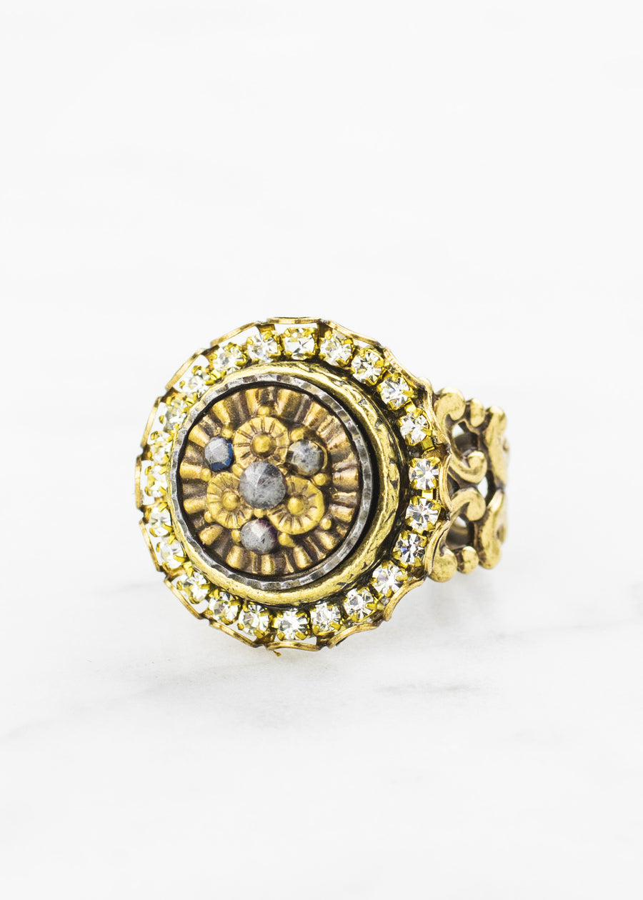 Crystal Antique Button Ring
