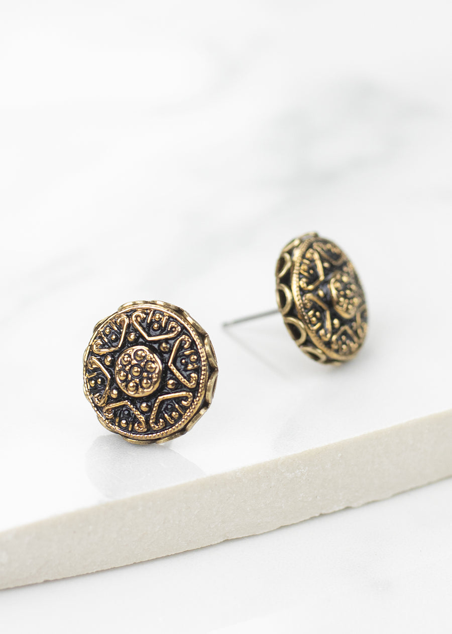 Czech Glass Black Post Earrings