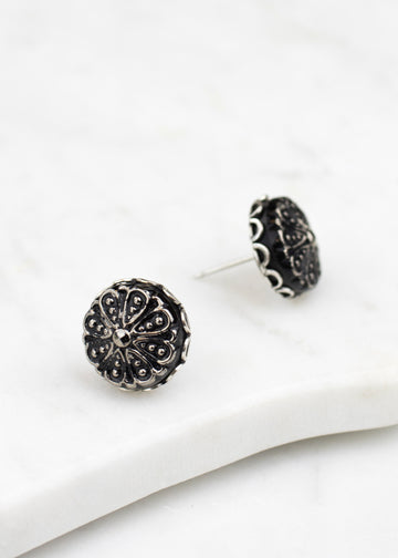 Post Earrings - Handmade, Black & Silver Czech Glass Buttons